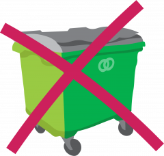 Wheeled refuse container crossed out